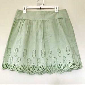 Ann Taylor LOFT Mint Green Embroidered Skirt 10